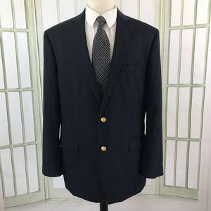 Chaps 2 Button Blazer 46L Mens Navy 4 Button Cuffs